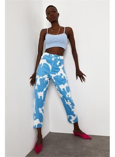 XHAN Siyah & Beyaz Desenli Pantolon 1Kxk5-44781-86  Mavi